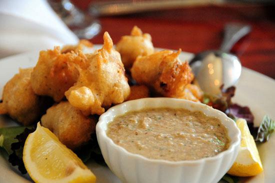 Batter fried mussels
