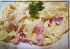 Cheese and bacon tagliatelle