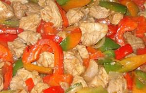 Pork with peppers and mustard