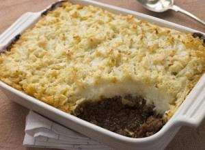 Baked mashed potatoes and ground beef