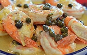 Γαρίδες με κάπαρη και τυριά