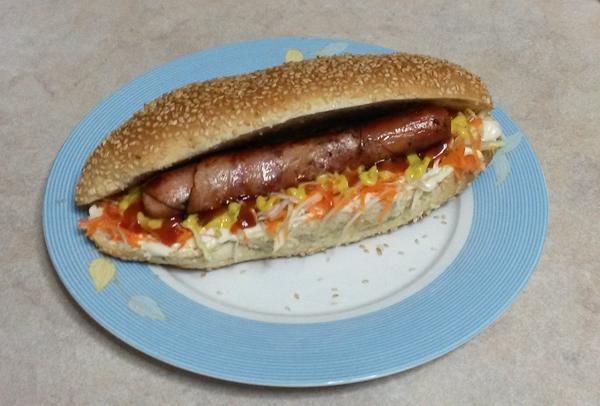 Home-made hot dog