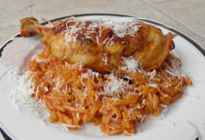 Greek Giouvetsi with chicken (Chicken with orzo pasta)
