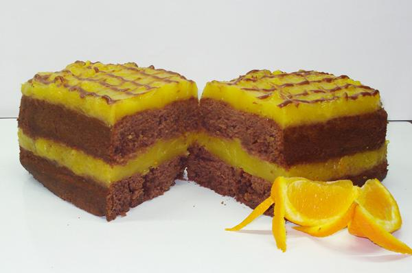 Chocolate cake with orange cream