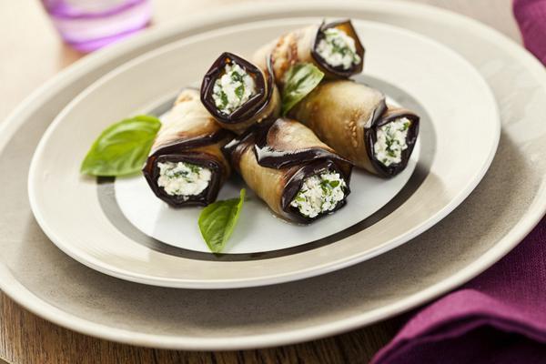 Cheese stuffed eggplant rolls