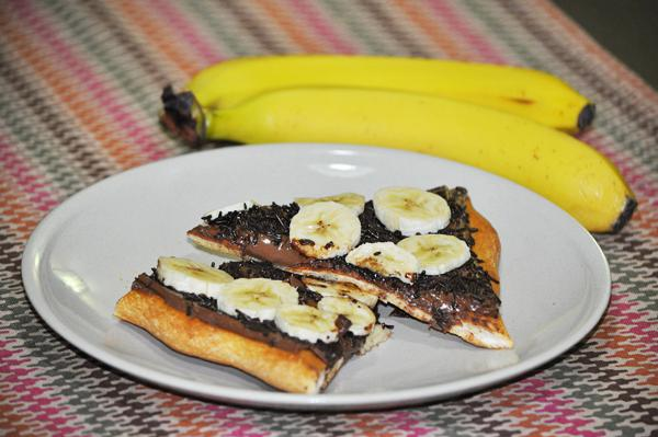 Chocolate and banana pizza
