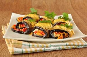 Eggplant rolls stuffed with vegetables