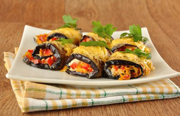Eggplant rolls stuffed with vegetables