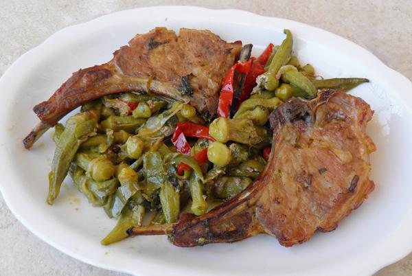 Pork steaks with okra