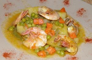 Γαρίδες με λαχανικά και πατάτες