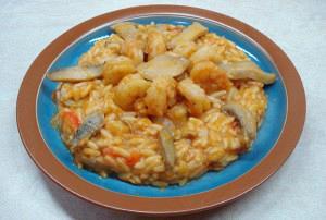 Κριθαρότο με γαρίδες και μανιτάρια