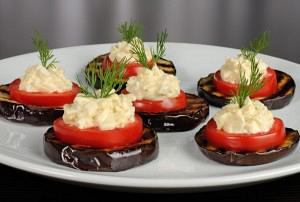 Baked eggplants with cream cheese
