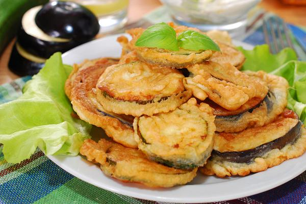 Fried eggplant slices with egg
