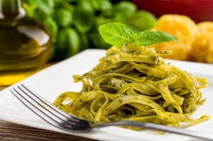 Tagliatelle with rocket pesto